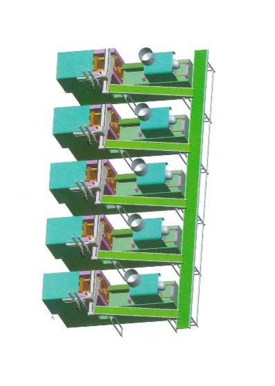 橫走式機械手配輸送機(1人負責5臺機)