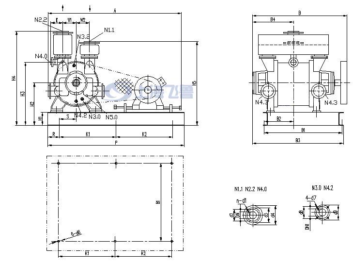2BE1 303/305/306/353/355/356皮带传动水环式真空泵安装尺寸