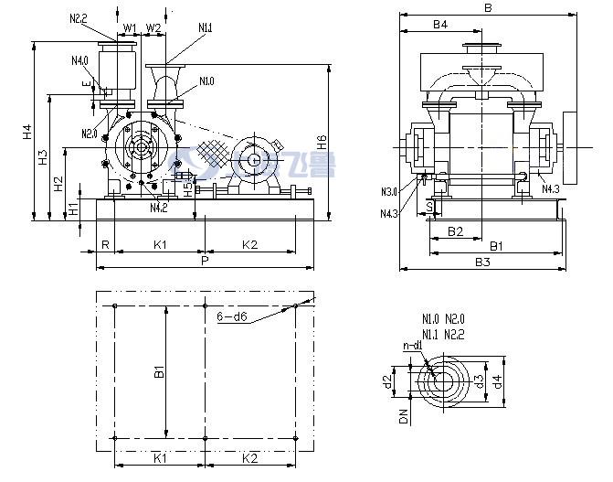 2BE1 202/203/252/253皮带传动水环式真空泵安装尺寸