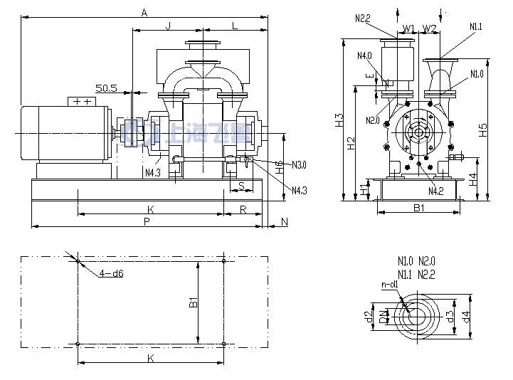 2BE1 202/203/252/253直联传动水环式真空泵安装尺寸