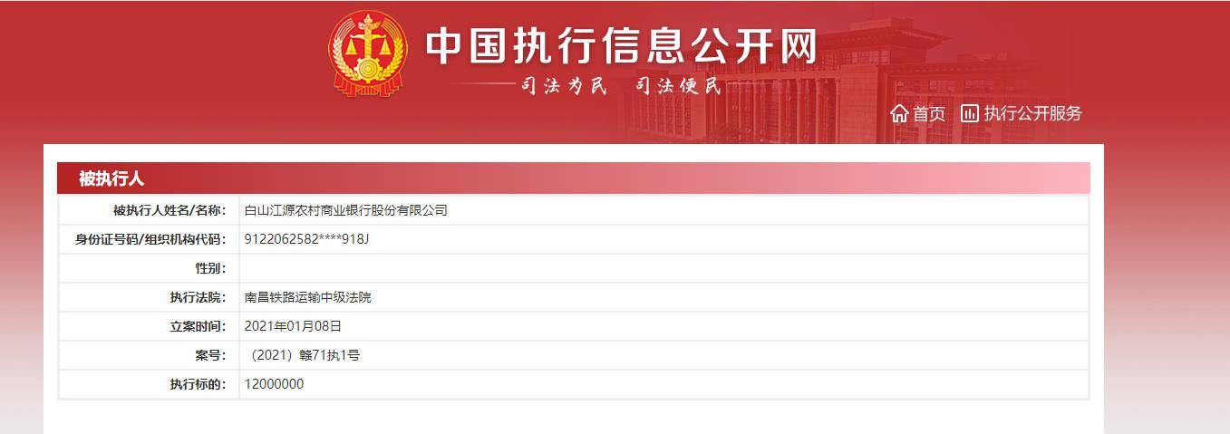 吉林省白山江源农村商业银行股份有限公司失信信息
