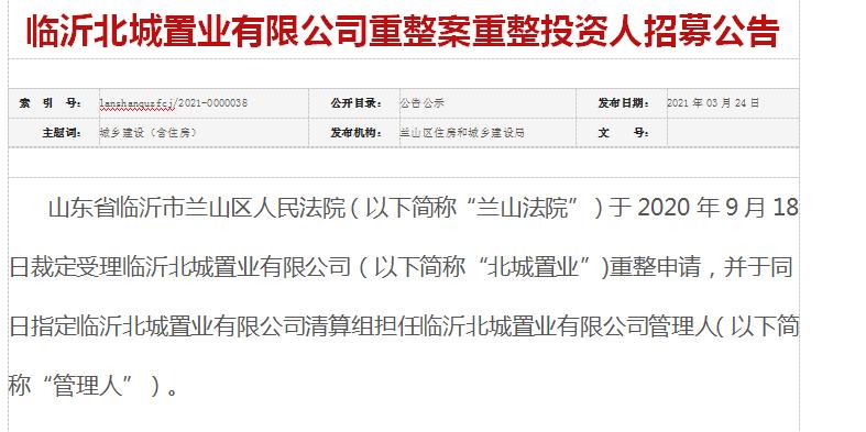"""山东临沂市:""""北城置业""""重整案履行程序应更严谨"""
