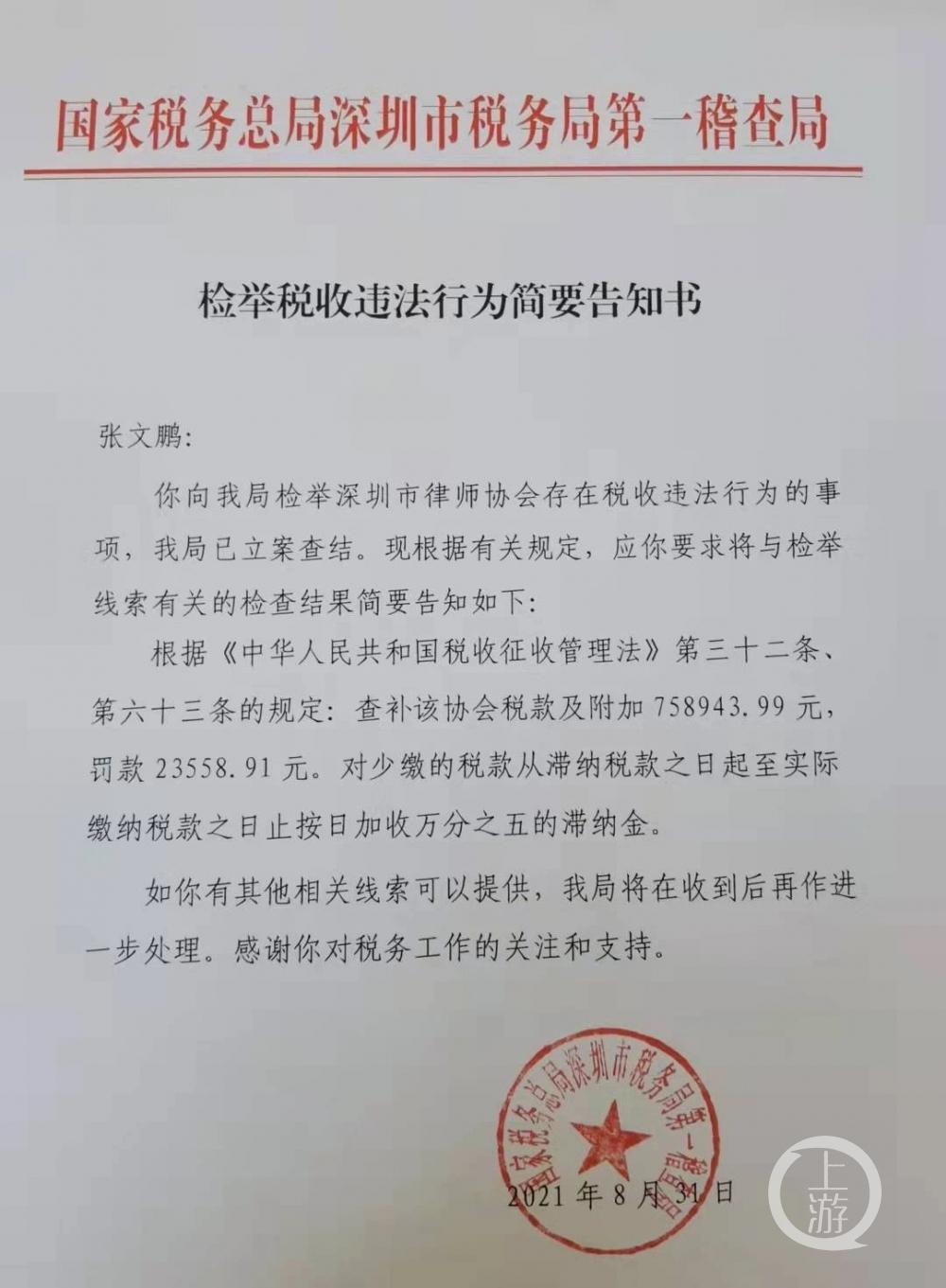 8月31日,深圳税务局第一稽查局向张文鹏出具告知书。图片来源/受访者供图