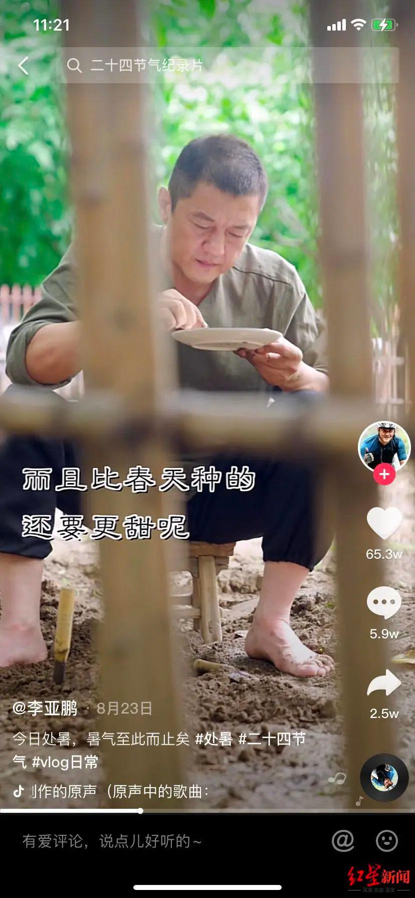 李亚鹏在短视频中种起了萝卜 图据抖音视频截图