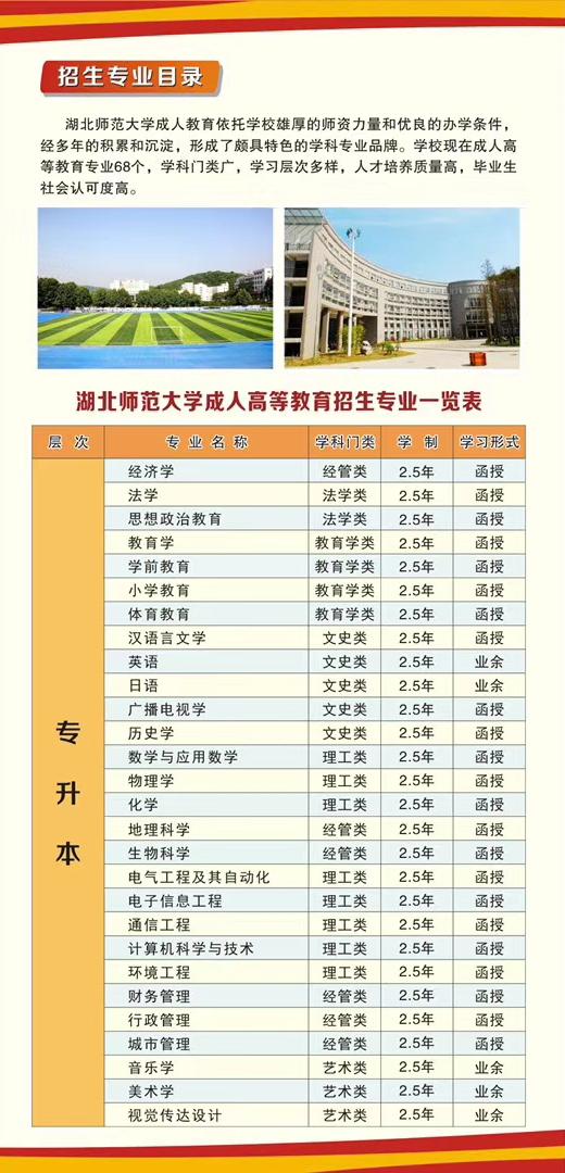湖北师范大学2020年成人高等学历教育招生简章